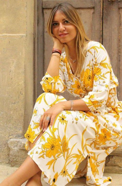 Robe Golden Fleurs Longue Imprimé Smockée E2W9DYHI
